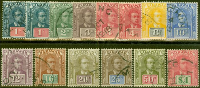 Collectible Postage Stamp from Sarawak 1918 Extended set of 14 SG50-61 V.F.U