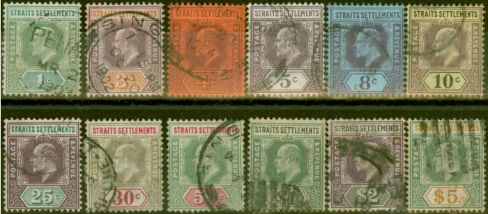 Valuable Postage Stamp from Straits Settlements 1902-03 set of 12 SG110-121 Ave Used