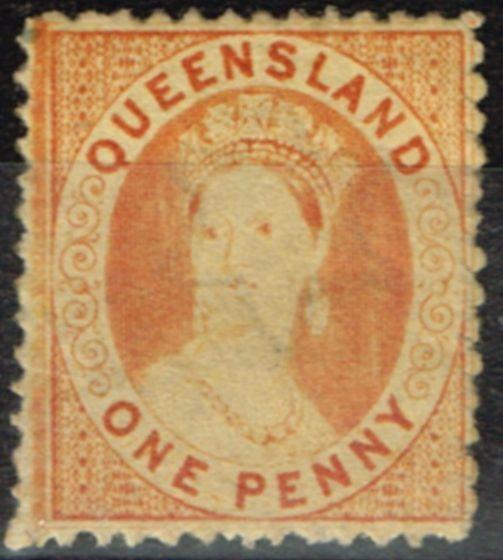 Valuable Postage Stamp from Queensland 1871 1d Orange-Vermilion SG59 P.13 Truncated Star Fine Lightly Mtd