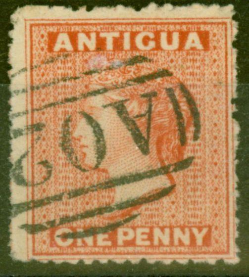Collectible Postage Stamp from Antigua 1867 1d Vermilion SG7b Wmk Sideways V.F.U