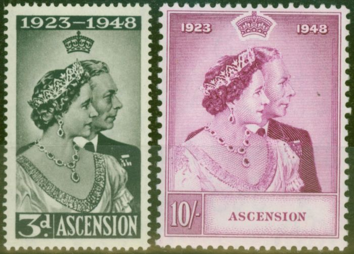 Rare Postage Stamp from Ascension 1948 RSW set of 2 SG50-51 Fine & Fresh Lightly Mtd Mint