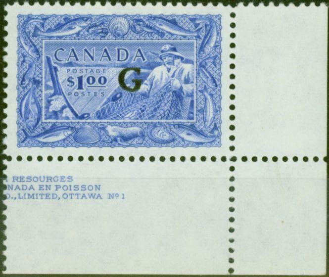 Collectible Postage Stamp from Canada 1951 $1 Ultramarine SG0192 V.F MNH Corner Marginal Part Imprint