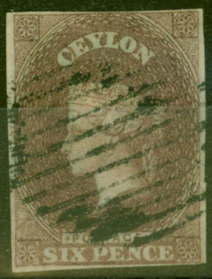 Old Postage Stamp from Ceylon 1859 6d Purple Brown SG6 Fine Used 4 Clear Margins