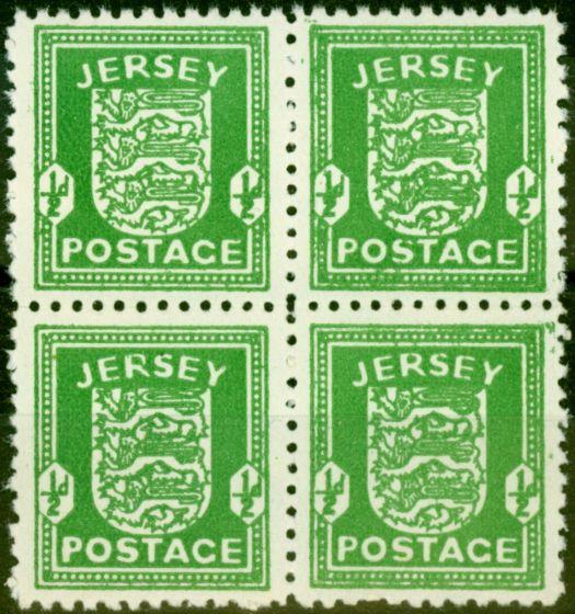Jersey 1942 1/2d Bright Green SG1 Fine MNH Block of 4