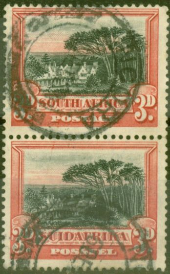 Valuable Postage Stamp from South Africa 1930 3d Black & Red SG35a P. 14 x 13.5 Fine Used Vert Pair