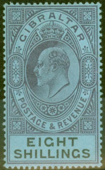Rare Postage Stamp from Gibraltar 1903 8s Dull Purple & Black-Blue SG54 Fine & Fresh Lightly Mtd Mint (6)