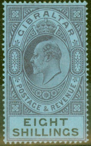 Old Postage Stamp from Gibraltar 1903 8s Dull Purple & Black-Blue SG54 Fine & Fresh Lightly Mtd Mint (7)
