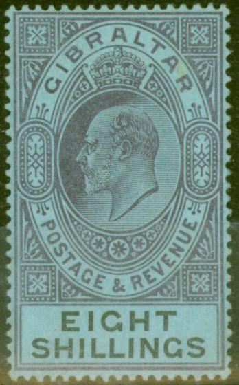 Old Postage Stamp from Gibraltar 1903 8s Dull Purple & Black-Blue SG54 Fine & Fresh Lightly Mtd Mint (8)