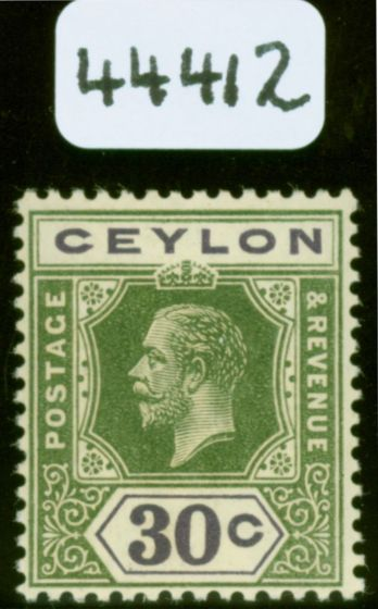 "Old Postage Stamp from Ceylon 1915 SG313awa Wmk Inverted, ""CEYLON & 30c"" Double, One Albino & Inverted"