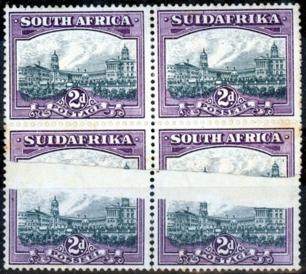 Old Postage Stamp from South Africa 1931 2d Slate-Grey & Lilac SG44bw var Exploded Paper Join of Exceptional Rarity