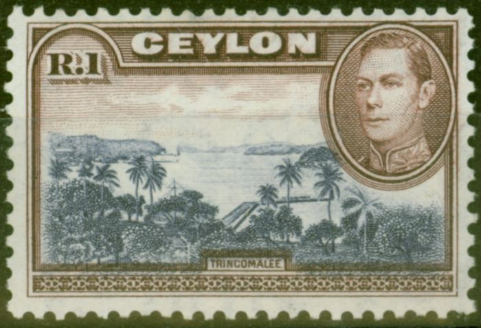 Valuable Postage Stamp from Ceylon 1938 1R Blue-Violet & Chocolate SG395 V.F Very Lightly Mtd Mint