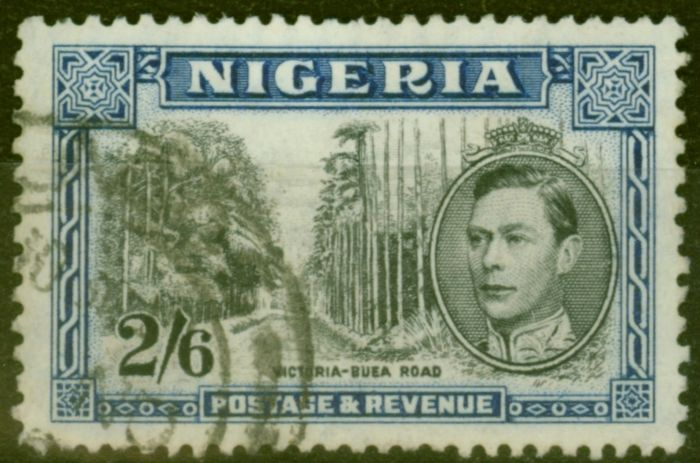Old Postage Stamp from Nigeria 1938 2s6d Black & Blue SG58 P.13 x 11.5 Fine Used