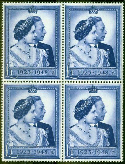 GB 1948 RSW £1 Blue SG494 Very Fine MNH Block of 4