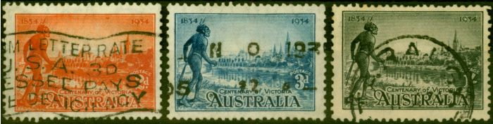 Old Postage Stamp from Australia 1934 Set of 3 SG147a-149a Good Used