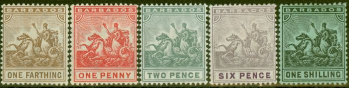 Rare Postage Stamp from Barbados 1909-1910 Set of 5 SG163-169 Fine Mtd Mint