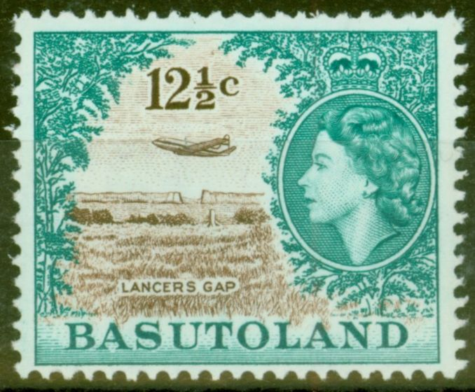 Rare Postage Stamp from Basutoland 1964 12 1/2c Brown & Turq-Green SG90 Wmk 12 Fine MNH