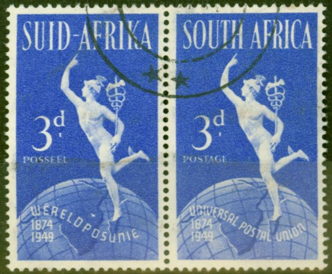 Collectible Postage Stamp from South Africa 1949 UPU 3d Brt Blue SG130b Lake in East Africa VFU Un-Priced Used