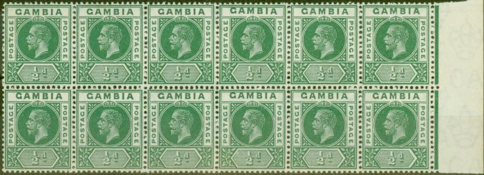 Old Postage Stamp from Gambia 1912 1/2d Green SG86avar Bisected M in Gambia in a Superb MNH Block of 12