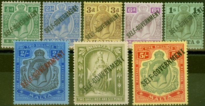 Valuable Postage Stamp from Malta 1922 set of 8 SG106-113 V.F Lightly Mtd Mint