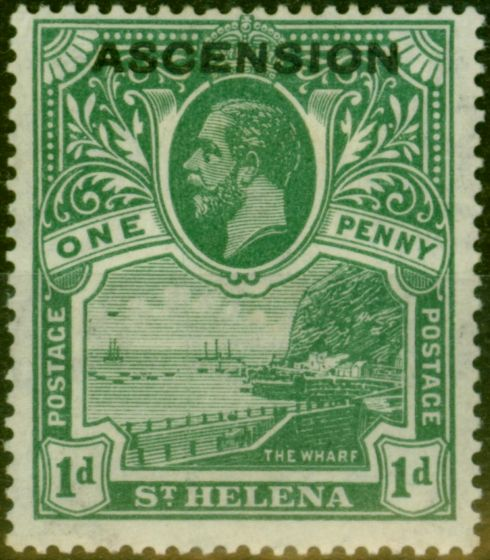 Old Postage Stamp from Ascension 1922 1d Green SG2 Fine Mtd Mint