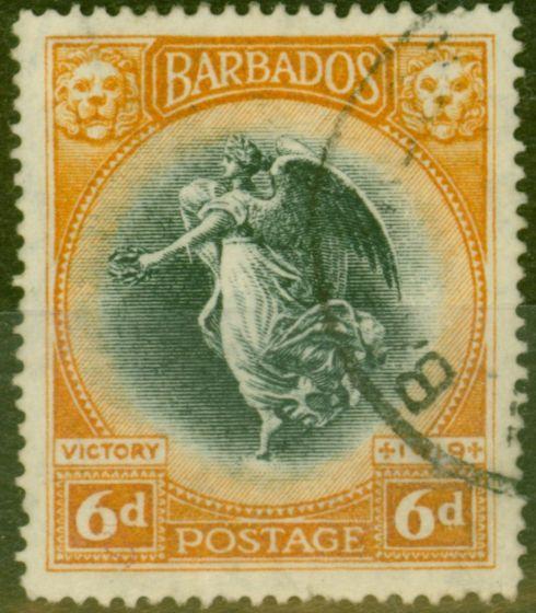 Valuable Postage Stamp from Barbados 1920 6d Black & Brown-Orange SG208 Fine Used