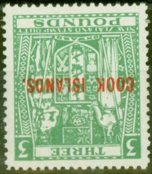 Rare Postage Stamp from Cook Islands 1953 £3 Green SG135w Wmk Inverted V.F MNH