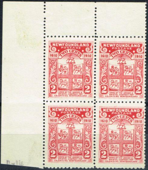 Collectible Postage Stamp from Newfoundland 1910 2c Rose-Carmine SG107 V.F MNH Corner Marginal Block of 4
