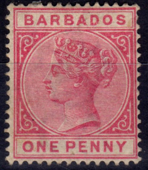 Valuable Postage Stamp from Barbados 1882 1d Rose SG91 Mtd Mint