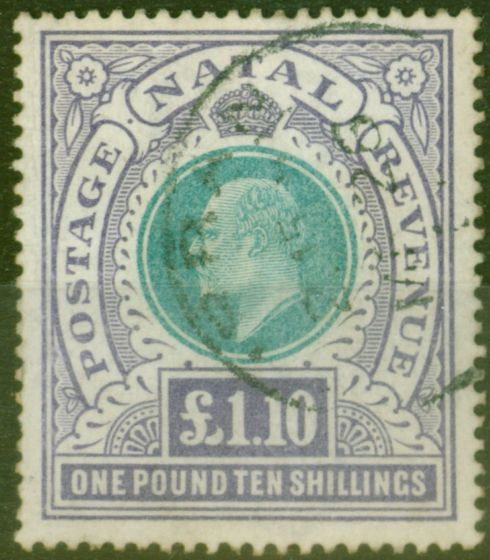 Rare Postage Stamp from Natal 1902 £1.10s Green & violet SG143 Fine Used
