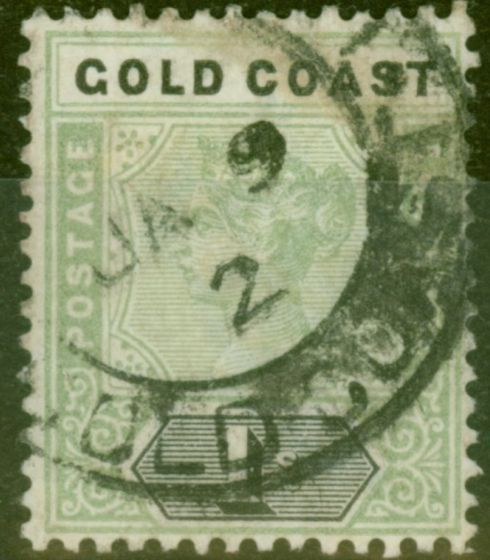 Collectible Postage Stamp from Gold Coast 1899 1s Green & Black SG31 Ave Used