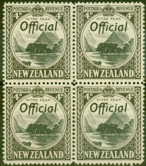 Old Postage Stamp from New Zealand 1941 4d Black & Sepia SG0126a P.14 V.F MNH Block of 4
