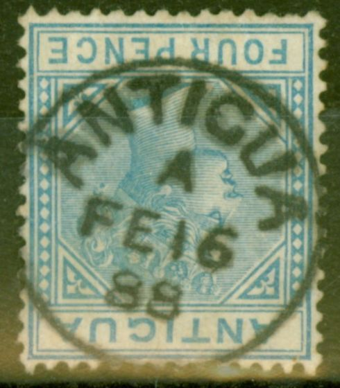 Collectible Postage Stamp from Antigua 1882 4d Blue SG23 Fine Used Complete Strike of ANTIGUA A FE 16 88 CDS