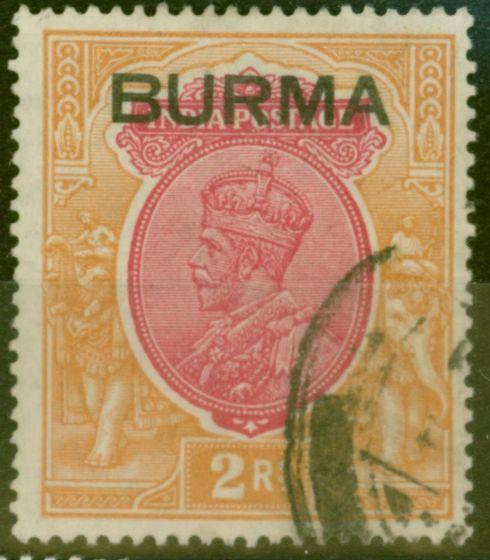 Burma 1932 2R Carmine and Orange SG14 Fine Used