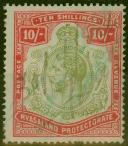 Rare Postage Stamp from Nyasaland 1913 10s Pale Green & Dp Scarlet-Green SG96b Nick in Top Right Scroll Good Used Fiscal Cancel