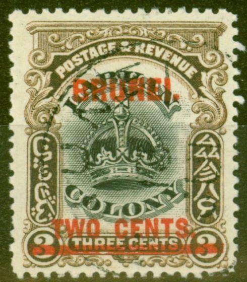 Old Postage Stamp from Brunei 1906 2c on 3c Black & Sepia SG12c Line Through B V.F.U Rare