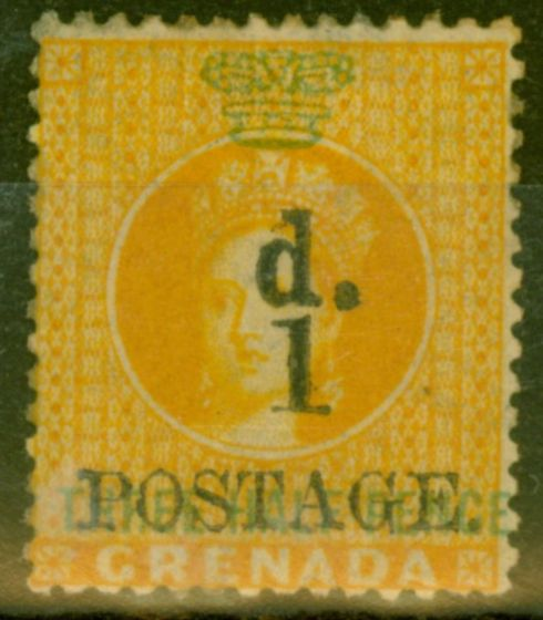 Valuable Postage Stamp from Grenada 1886 1d on 1 1/2d Orange SG37 Fine Mtd Mint