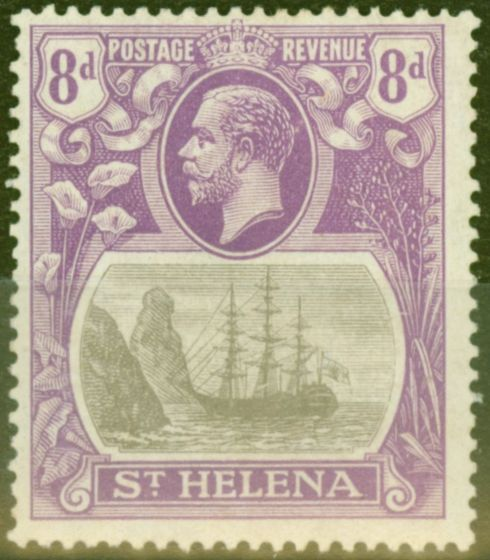 Valuable Postage Stamp from St Helena 1923 8d Grey & Brt Blue SG105a Broken Mainmast Fine Lightly Mtd Mint