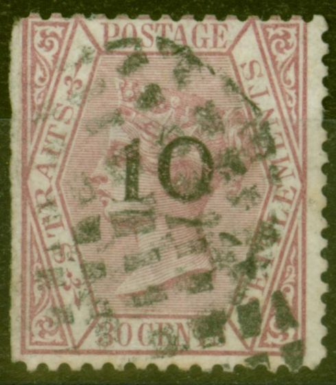 Rare Postage Stamp from Straits Settlements 1880 10 0n 30c Claret SG24 Type C Ave Used