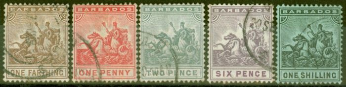 Collectible Postage Stamp from Barbados 1909 set of 5 SG163-169 Fine Used