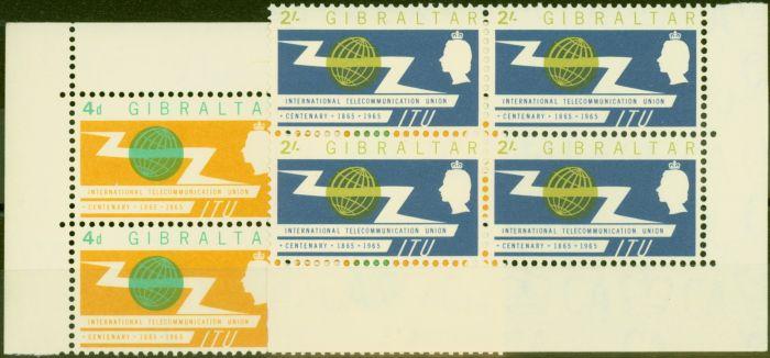 Valuable Postage Stamp from Gibraltar 1965 I.T.U set of 2 SG180-181 V.F MNH Blocks of 4
