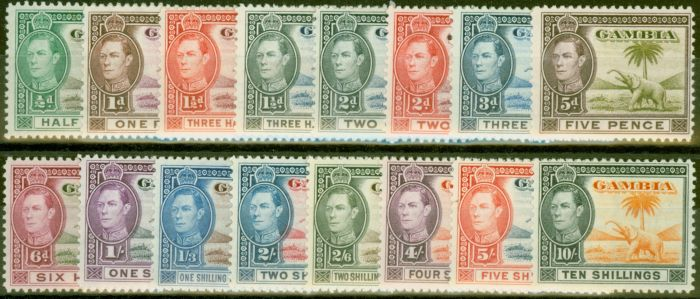 Old Postage Stamp from Gambia 1938-46 set of 16 SG150-161 V.F Very Lightly Mtd Mint