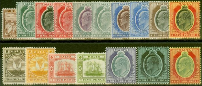 Old Postage Stamp from Malta 1904-14 set of 17 SG45-63 Fine & Fresh Mtd Mint