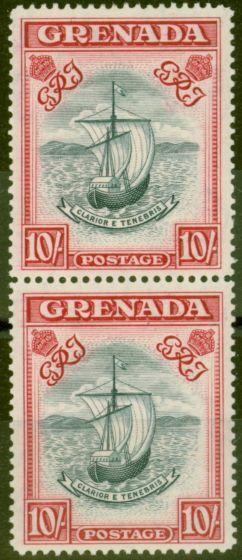 Old Postage Stamp from Grenada 1943 10s Slate-Blue & Brt Carmine SG163b P.14 Narrow Fine MNH Vert Pair