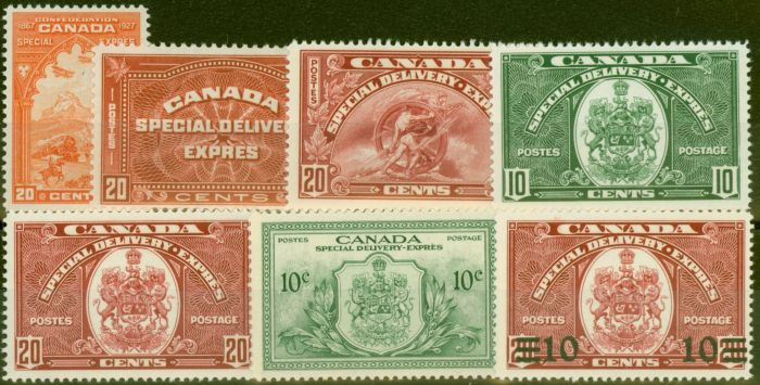 Rare Postage Stamp from Canada 1927-39 set of 7 Express Stamps SGS5, S7, S8, S9, S10 & SGS11 V.F Very Lightly Mtd Mint