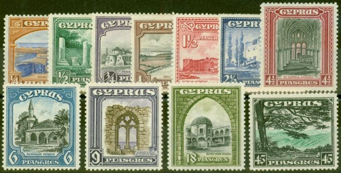 Valuable Postage Stamp from Cyprus 1934 set of 11 SG133-143 Fine Mtd Mint (Top Value V.F MNH)