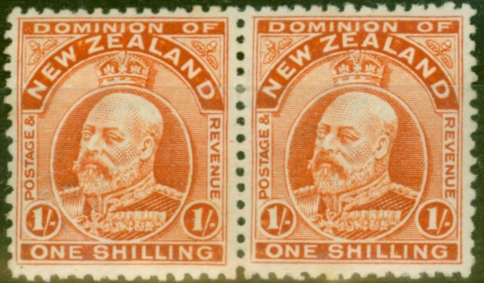 Valuable Postage Stamp from New Zealand 1910 1s Vermilion SG399 P.14 Fine Lightly Mtd Mint Pair