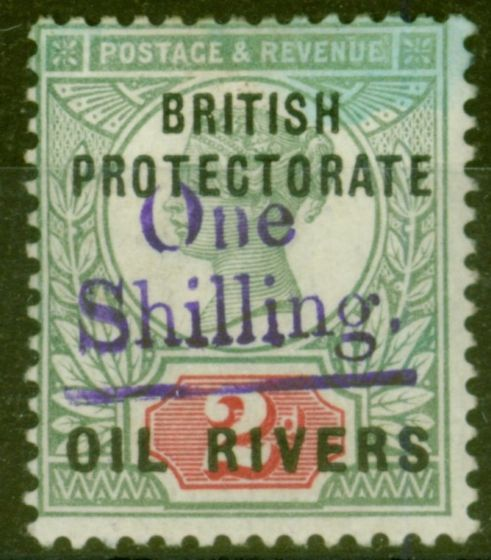 Old Postage Stamp from Oil Rivers 1893 1s on 2d SG37 Fine Very Lightly Mtd Mint