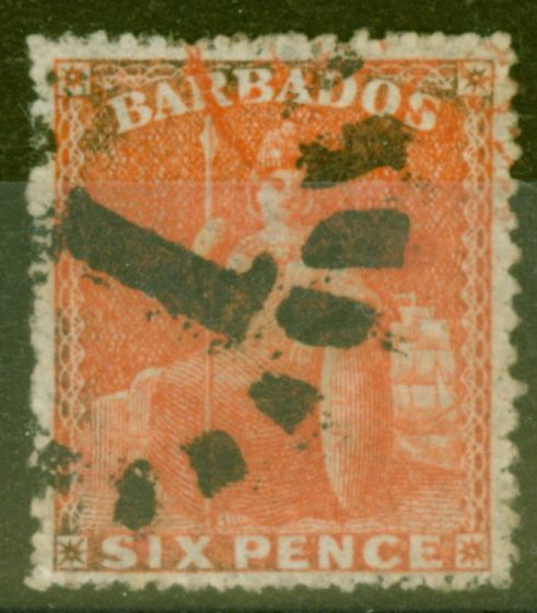Collectible Postage Stamp from Barbados 1868 6d Brt Orange-Vermilion SG31 Fine Used.