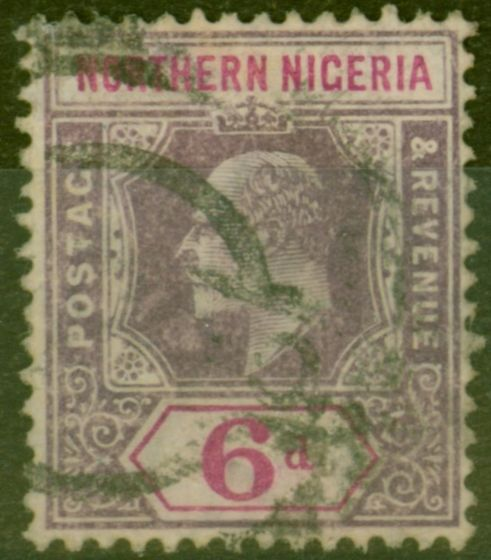 Rare Postage Stamp from Northen Nigeria 1906 6d Dull Purple & Violet SG25a Chalk Paper Ave Used