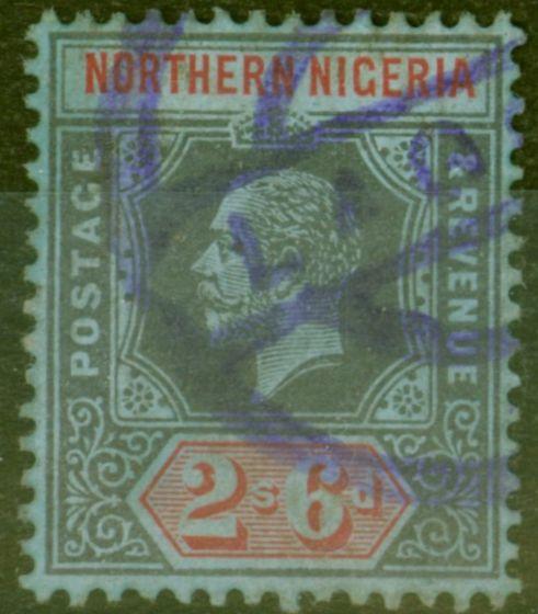 Old Postage Stamp from Northen Nigeria 1912 2s6d Black & Red-Blue SG49 Fine Used Parcel Post Cancel